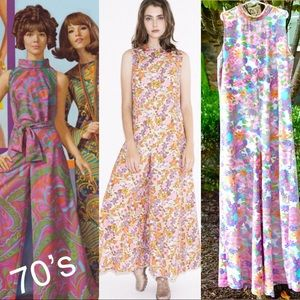 Authentic 🌼70's Bell Bottom Flower Power Jumpsuit